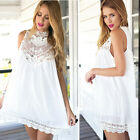 Women Summer Sleeveless Lace White Evening Party Cocktail Short Mini Dress Hot
