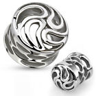 Pair Surgical Steel Carved Tornado Swirls Saddle Plugs with Holes Gauges