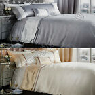 CATHERINE LANSFIELD LUXOR JACQUARD BEDDING QUILT DUVET COVER SET SILVER GOLD
