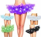 Womens Sexy LED Light up Mesh Layered Rave Tutu Night Party Dancing Ballet Skirt