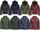 Mens Quilted Padded Hooded Zip Warm Long Sleeve Puffer Coat Bubble Jacket 8-14