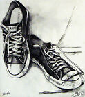 """24"""" x20"""" Converse shoe print canvas street art painting by Andy baker signed"""
