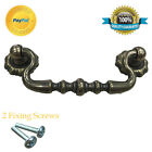 CAST IRON VINTAGE DRAWER COUNTRY PULL BRASS HANDLE SWAN NECK SWING HANDLE