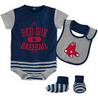 Infant Boston Red Sox Bodysuit Bib Bootie Set MLB Baseball Property Baby Creeper