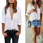 Fashion Women Summer Loose V-neck Casual Cotton Long Sleeve T Shirt Tops Blouse
