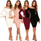 Stylish Womens Off The Shoulder Bodycon Pencil Dress Evening Party Cocktail New