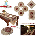 Table Runner Vintage Tablecloth Gold Burgundy Lace Embroidered Floral Scarves