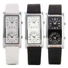 Fashion Men's Dual Time Stainless Steel Leather Analog Black Sport Wrist Watch