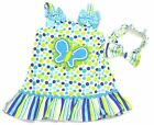 NEW Youngland Toddler Girl's Butterfly Polka Dot Dress & Headband Size 24M & 2T