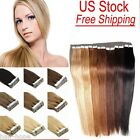 DIY Tape In PU Human Hair Extensions Skin Weft Remy Hair 16''-22'' Straight USA