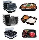 Microwave Food Containers Dishwasher Safe Compartment Meal Prep Plastic 10Pcs