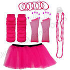NEON TUTU SET ACCESSORIES GLOVES LEGWARMERS BEADS NECKLACE BANGLES LOT 1980S 80S