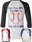 is there a kingdom hearts 3 - Ladies Navy Red RAGLAN SHIRT Baseball MOM There's this boy stole heart NAME