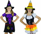 Girls Kandy Korn Black Cat Witch Halloween Fancy Dress Costume + Hat 4 6 8 10 12