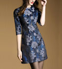 Women's Navy Blue Jacquard Mid-Sleeve Cocktail Party Mini Dress Size 6 To 14