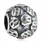 Genuine Solid 925 Sterling Silver SKULL Patterned  Charm Bead