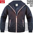 Mens Bomber Jacket Harrington Light Weight Hooded Hoodie Quilted Black Navy Coat