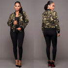 Women Ladies Camouflage Bomber Jacket Military Army Zip Up Blazer Short Coat Top