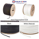 4MM ROUND POLYPROPYLENE ROPE BRAIDED POLY CORD STRONG STRING IN BLACK & NATURAL