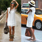 UK Boho Women Lace Embroidery Summer Loose Casual Beach Mini Party Dress 8-14
