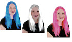 """LADIES LONG 16"""" STRAIGHT WIG PINK WHITE  FANCY DRESS COSPLAY WIGS POP HEN PARTY"""