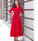 Early spring chic Vintage Womens Belt Coat Balloon Dress Full Length Peplum Sexy