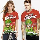 Unisex Red T-shirt Tee Top 3D Cartoon Captain Chronic Print Casual Short Sleeve