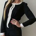 Sexy Women Ladies Crew Neck Chiffon Long Sleeve Loose Casual Tops Blouse JR
