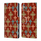 HEAD CASE DESIGNS CROSS PRINTS LEATHER BOOK WALLET CASE FOR SONY XPERIA XZ