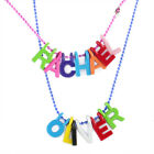 PERSONALISED NAME NECKLACE Colourful Letters pink blue chain for kids boys girls