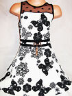 GIRLS 50s STYLE WHITE BLACK FLOWER BUTTERFLY PRINT LACE CONTRAST PARTY DRESS