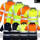 HI VIS VIZ HIGH VISIBILITY POLO SHIRT T-SHIRT SHORT LONG SLEEVES WORK 2 TONE TOP