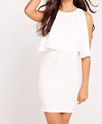 MISSGUIDED overlay bodycon dress white (M1/27)