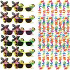 12X FLAMINGO SUNGLASSES & 12 LEI GARLAND NECKLACE HAWAIIAN SUMMER FANCY DRESS