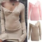 Women's Long Sleeves Casual Basic Solid Color Bodycon Mini T-Shirt Dress G1F8