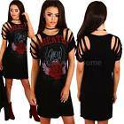 Women Shirt Dress Distressed Sleeve Mini Gothic Band Casual Pencil Dress S3Z9