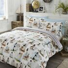 LIGHTHOUSE NAUTICAL REVERSIBLE STRIPED RED BLUE WHITE QUILT DUVET COVER BED SET