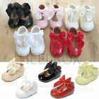 GIRLS BABY WEDDING LARGE BOW SPANISH STYLE HARD SOLE PARTY PATENT SHOES SIZE