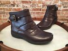 Clarks Brown Ruched Leather Christine Club Ankle Boots NEW