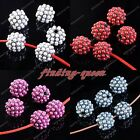 5x Faux Pearl Pave Metal Round Ball Spacer Bead For Bracelet Findings DIY 10mm
