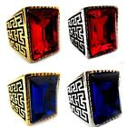 New Greek Gold Silver Tone Stainless Steel Men Signet Ring Rectangle CZ Crystal