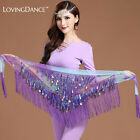 Chiffon Belly Dance Belt Tassel Triangle Dancing Hip Scarf Green Free Shipping