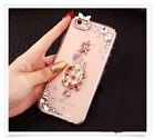 Girl's Cute Luxury Bling Diamond Crystal Ring Kickstand Clear Phone Case Cover