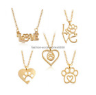 "New ""love"" Dog Paw Print Pendant Heart Necklace Chain Pet Lover Dog Gift Hot"