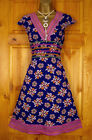 NEW RIVER ISLAND BLUE LILAC PINK FLORAL VINTAGE STYLE COTTON SUMMER DRESS 8 -12