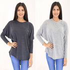 WOMENS LADIES LONG SLEEVE BAGGY KNIT BATWING DIAMANTE BOW BACK JUMPER HILO HEM