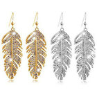 Women Boho Alloy Feather Rhinestone Eardrops Party Hook Dangle Earrings Sanwood