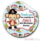 1xA4 Sheet Personalised Pirate Monkey Birthday Party bags GLOSSY STICKERS