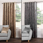 KENSINGTON LUXURY CRUSHED VELVET LINED CURTAINS PANELS WITH GROMMET EYELET TOP