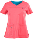 MC2 by Med Couture Women's Lexi Sport Neckline Solid Scrub Top 8489